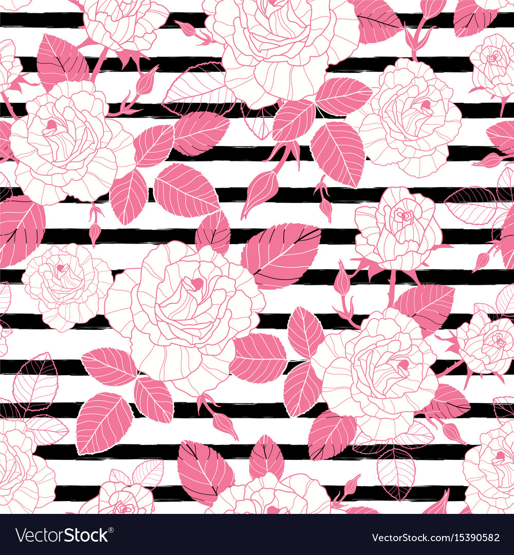 Vintage pink roses and leaves on black vector image