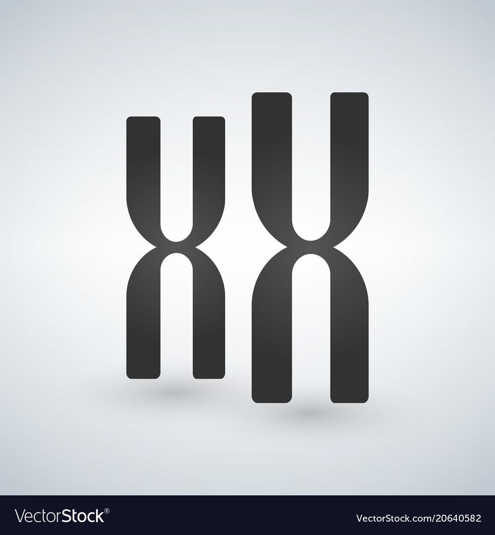Xx chromosomes icon style is flat symbol grey