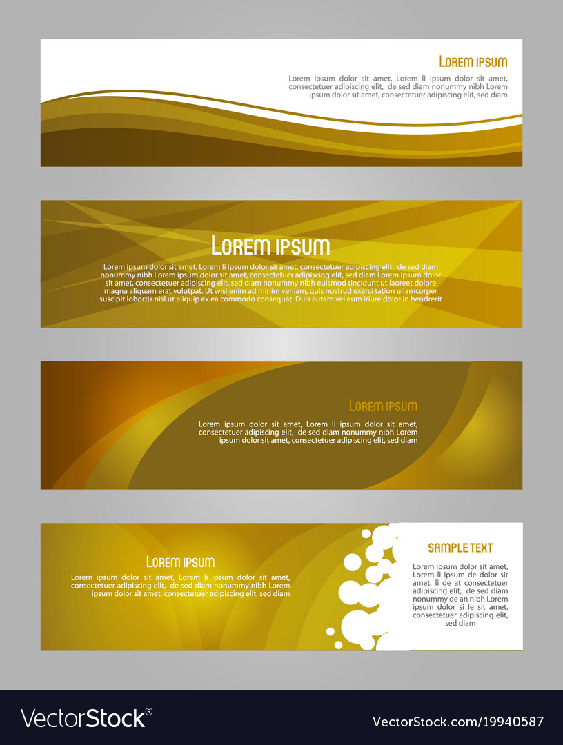 Abstract set of 4 simply banner in gold color