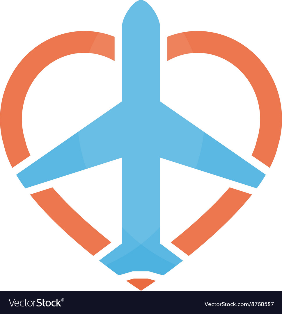 Airplane and heart logo design template