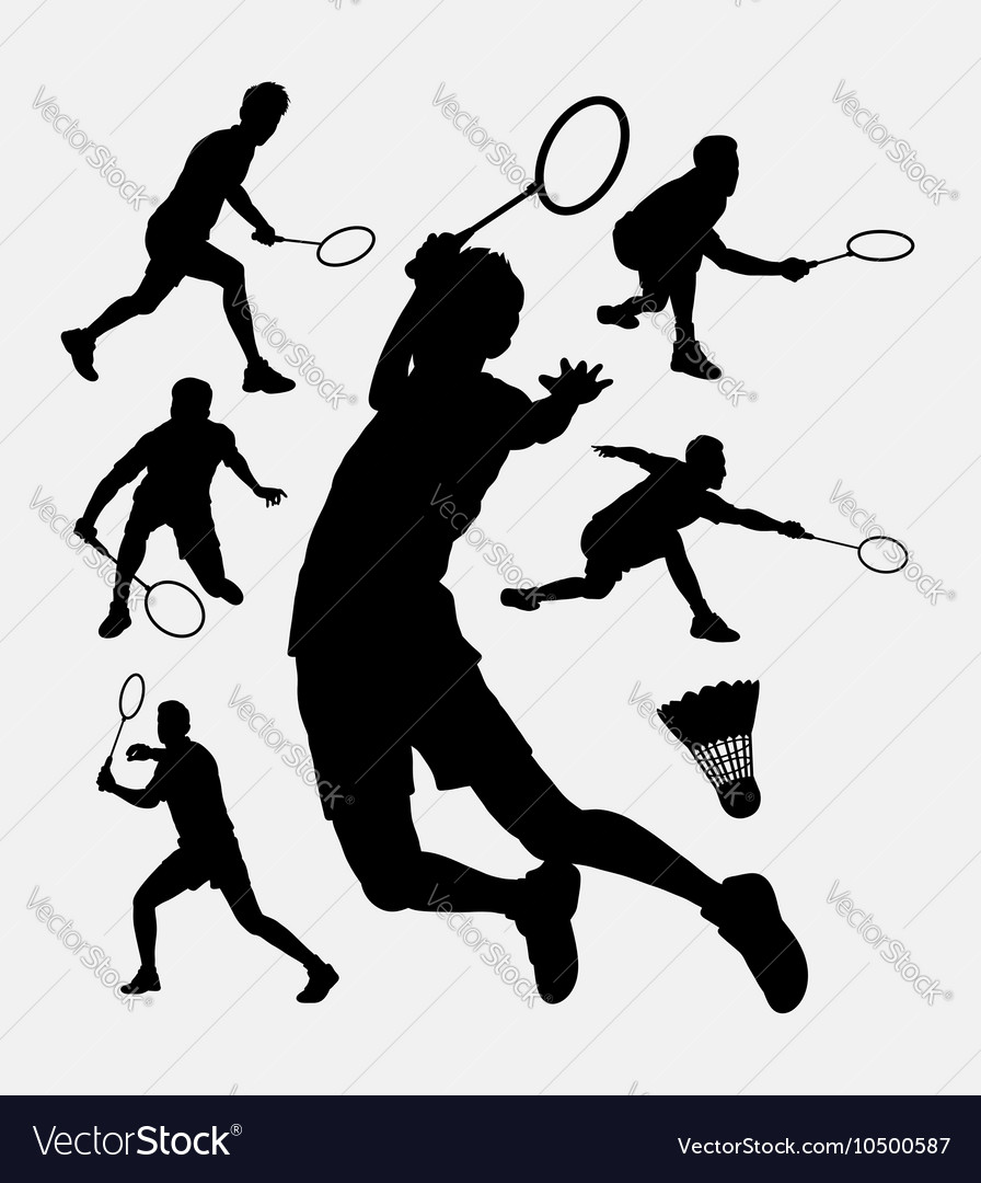 Badminton sport tournament silhouette vector image