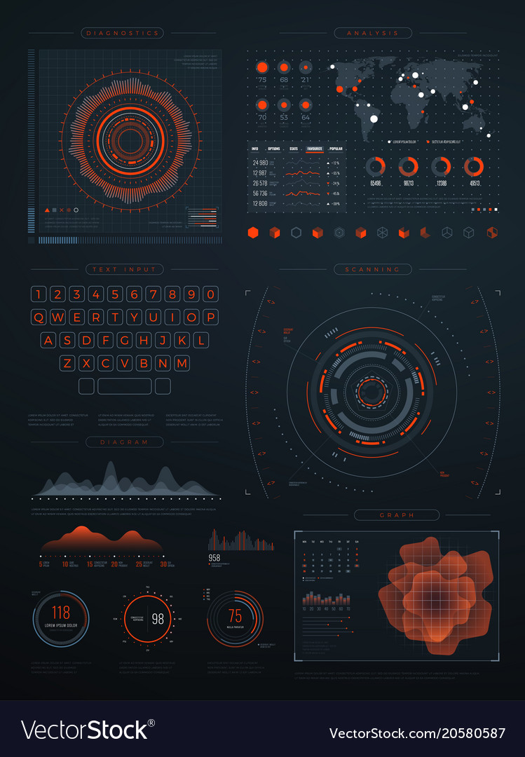Digital futuristic hud virtual interface