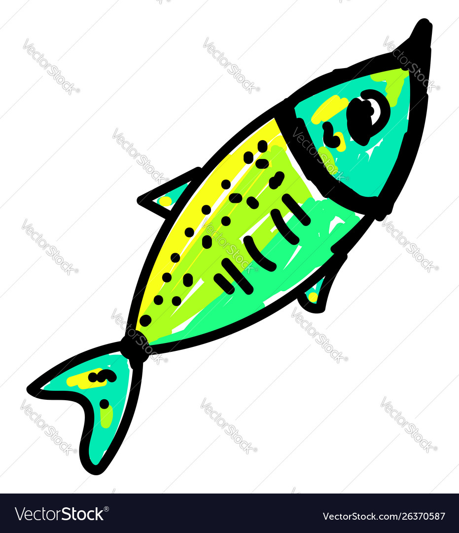 Green fish on white background