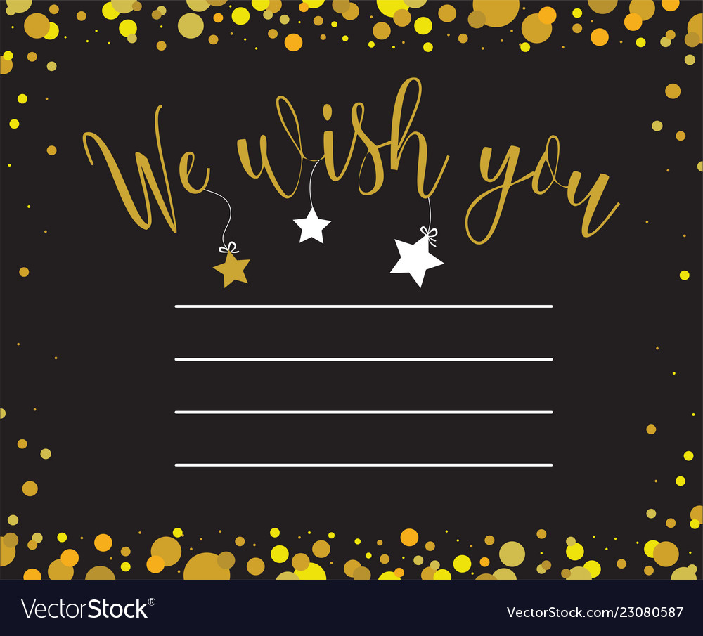Greeting card with we wish you inscription
