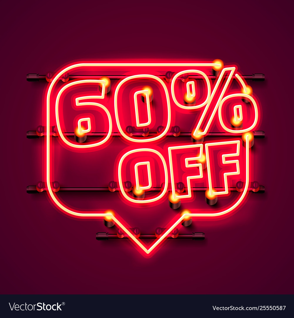 Message neon 60 off text banner night sign