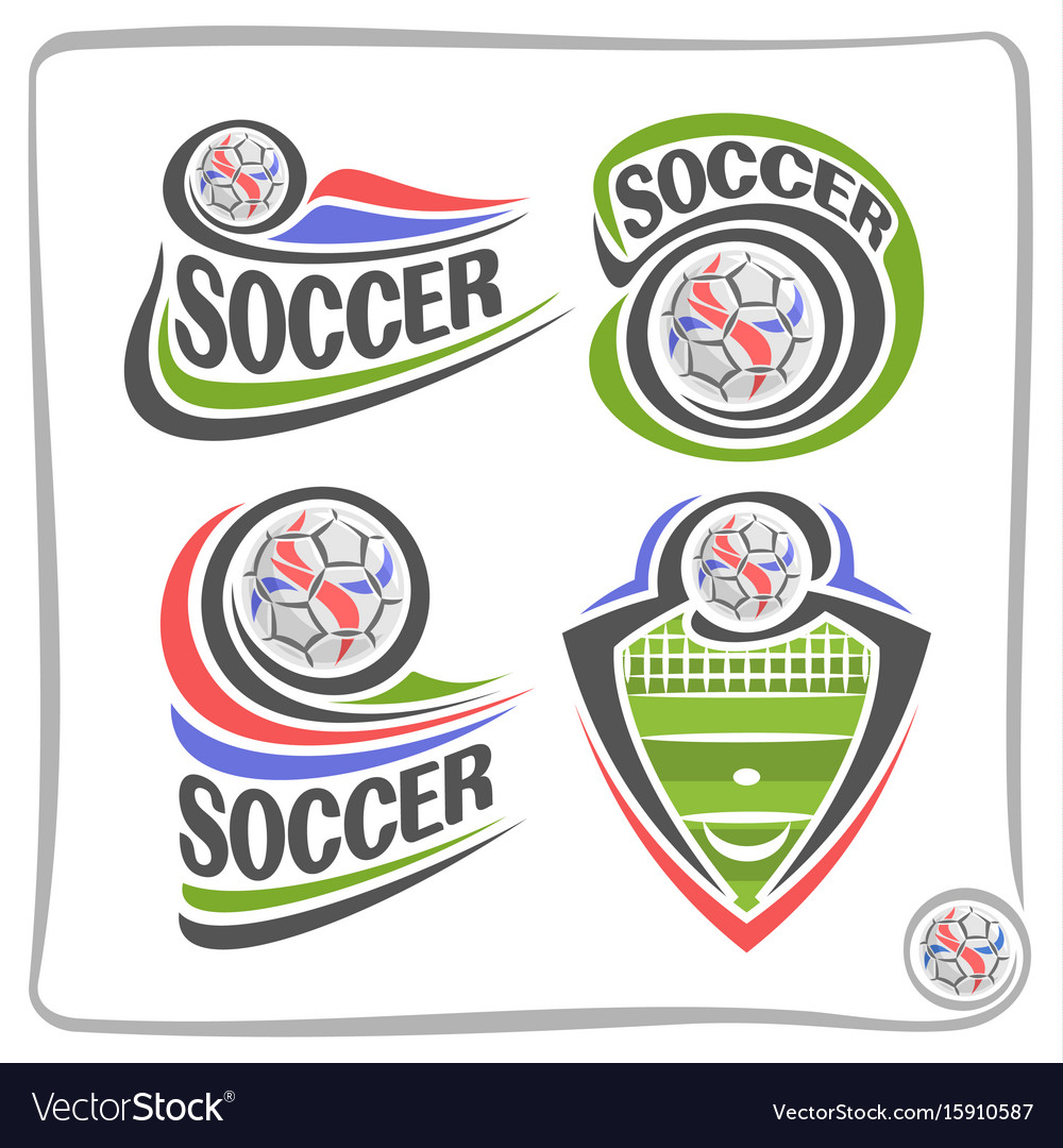 Set of abstract logos for soccer vector image