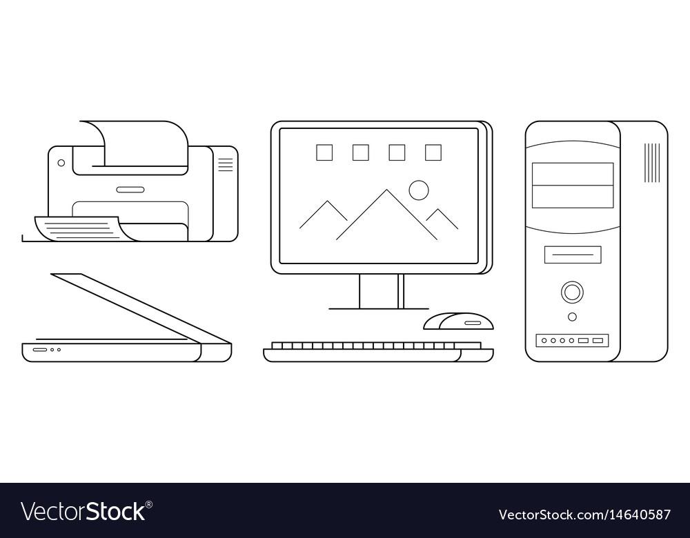 Set of computer office equipment vector image