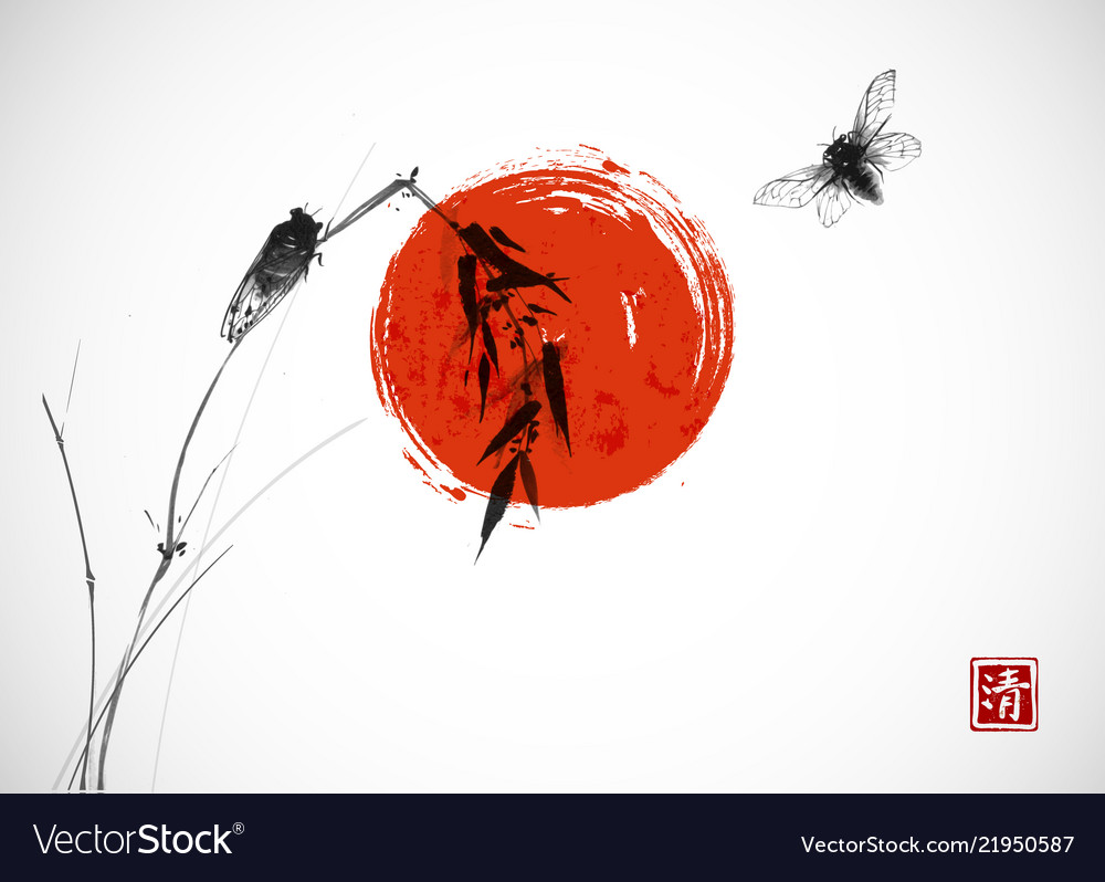 Two cicadas big red sun and bamboo branch