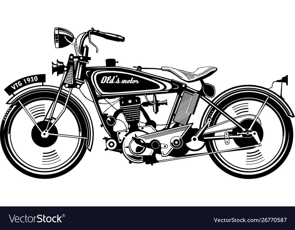 Vintage motorbike side view black