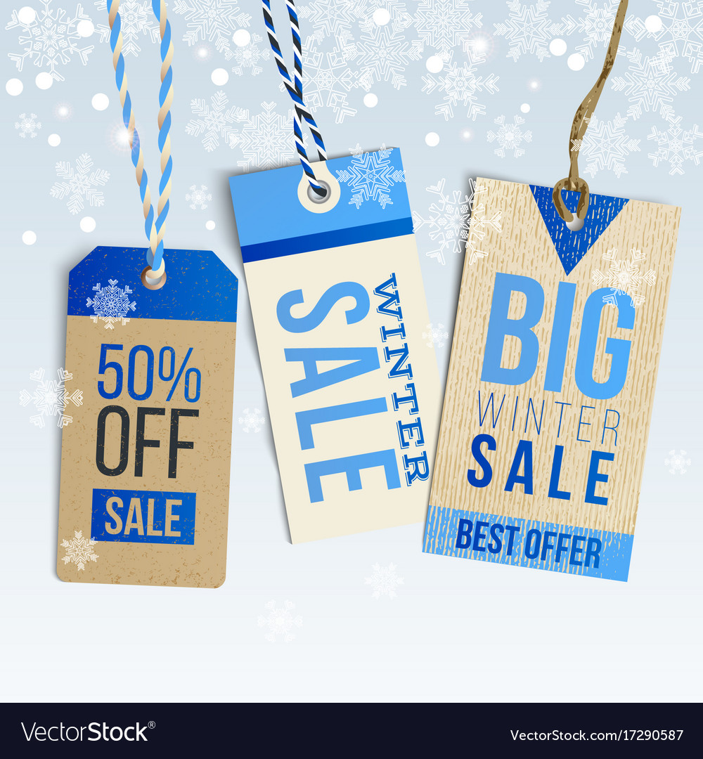 Winter sale realistic tags on winter background vector image