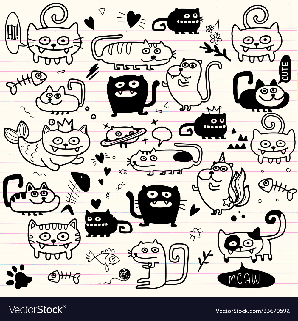 Activities funny doodle cats set hand drawn