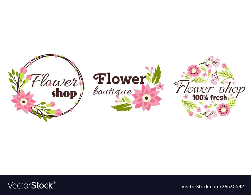 Floral shop badge decorative frame template