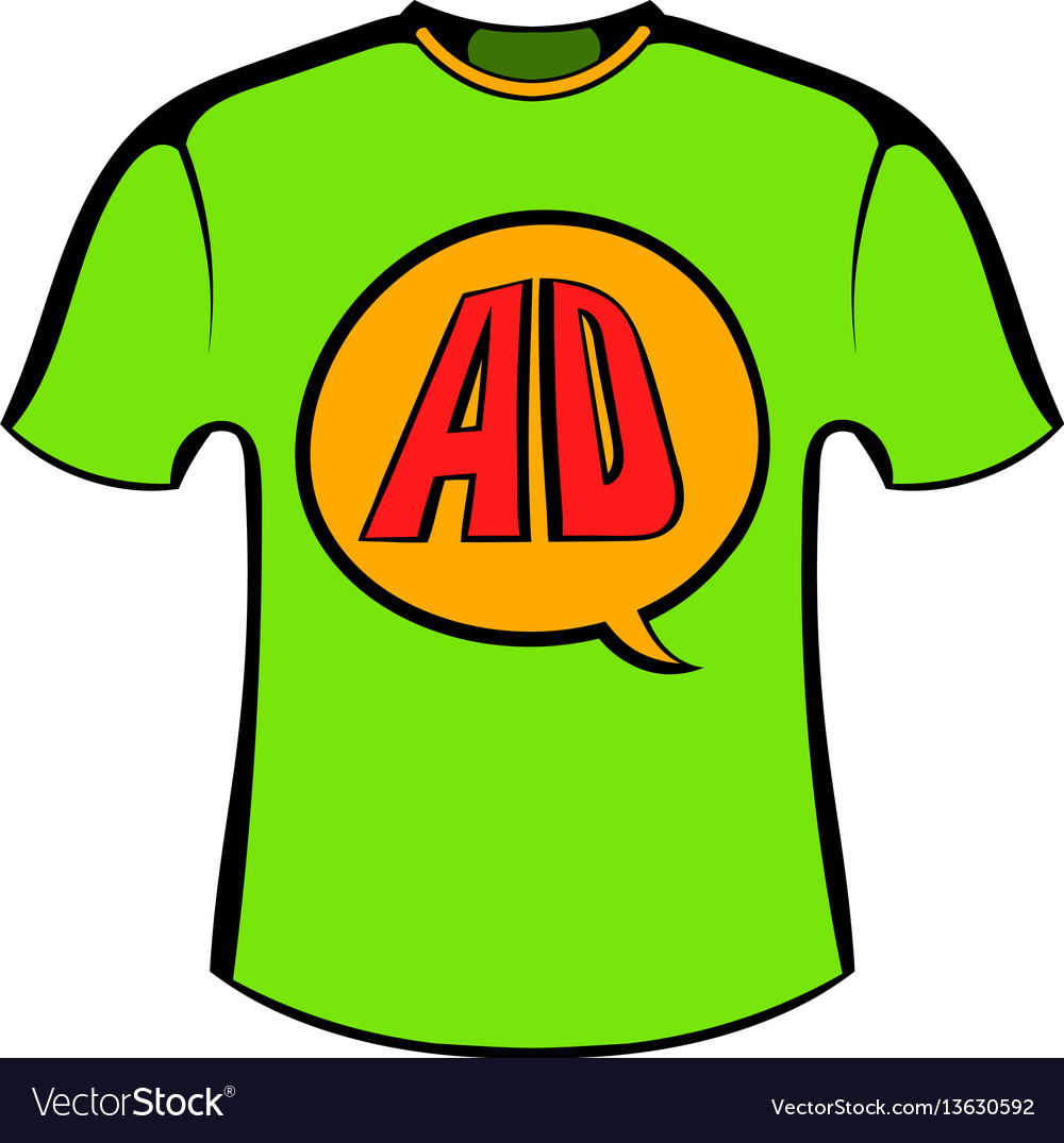 Green shirt with ad letters icon cartoon
