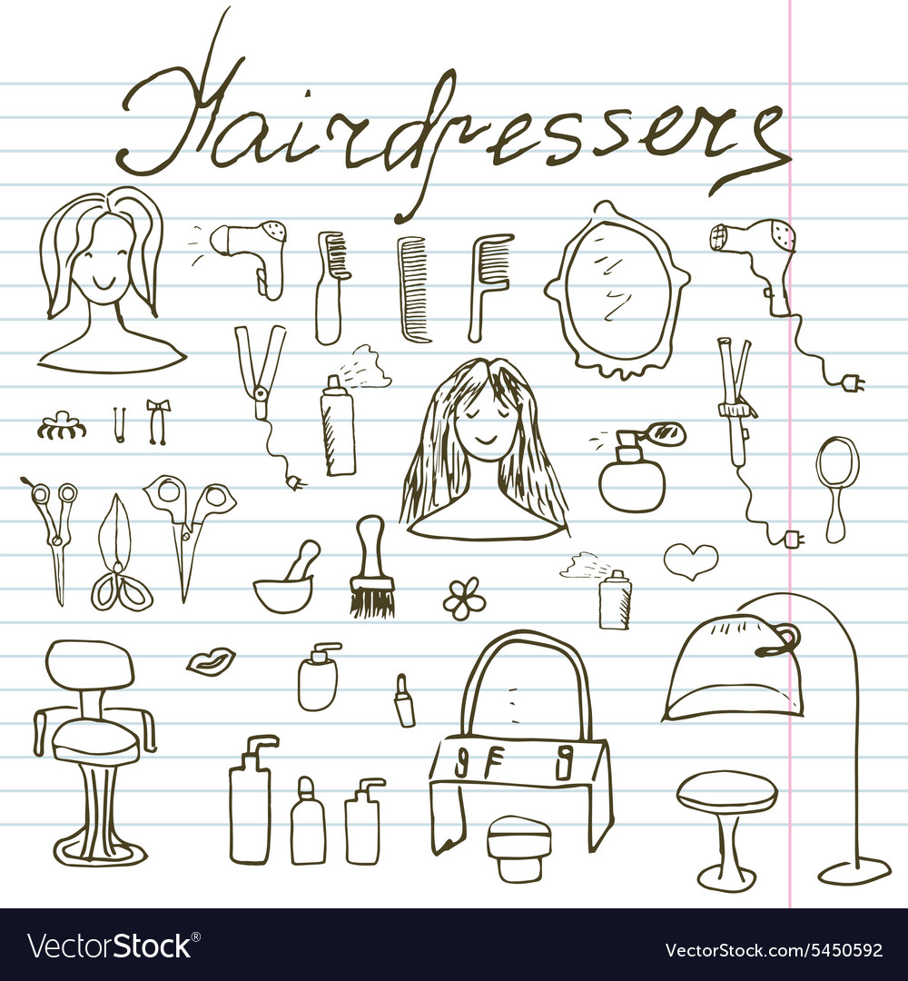Hairdresser equipment doodles set Hand-drawn