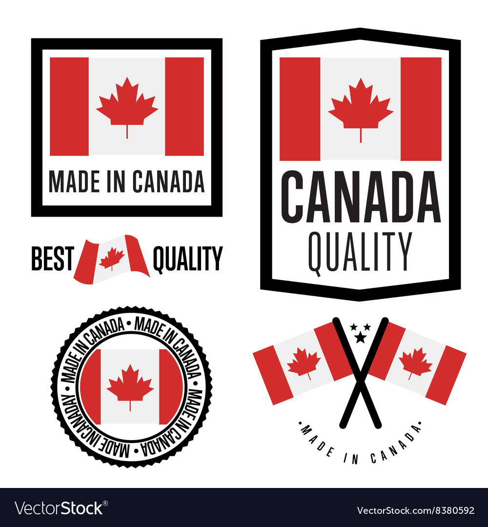 Made in Canada label set national flag