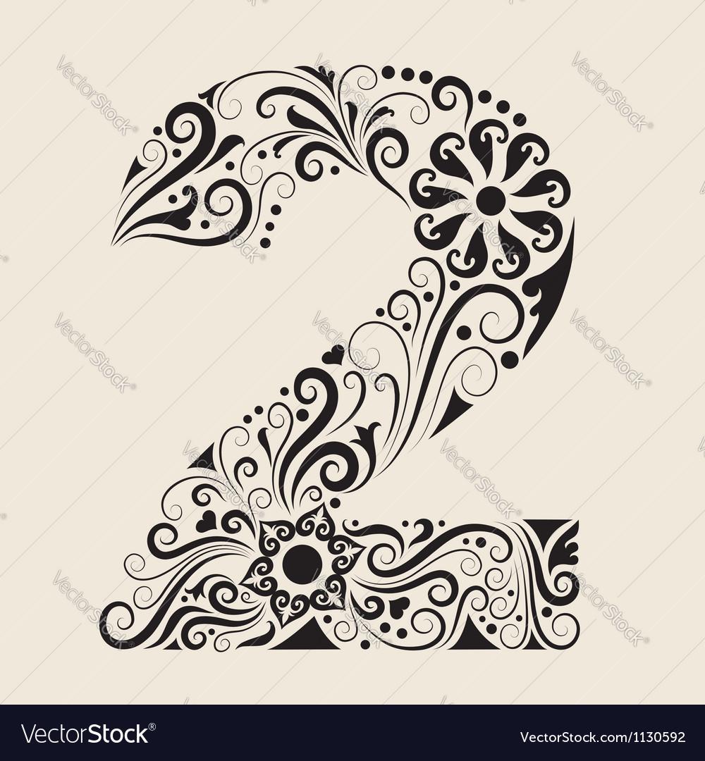 Number 2 floral decorative ornament vector image