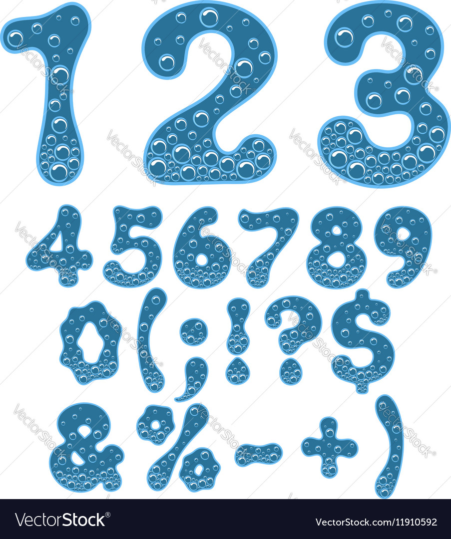 Numbers And Symbols Of Sparkling Water Royalty Free Vector