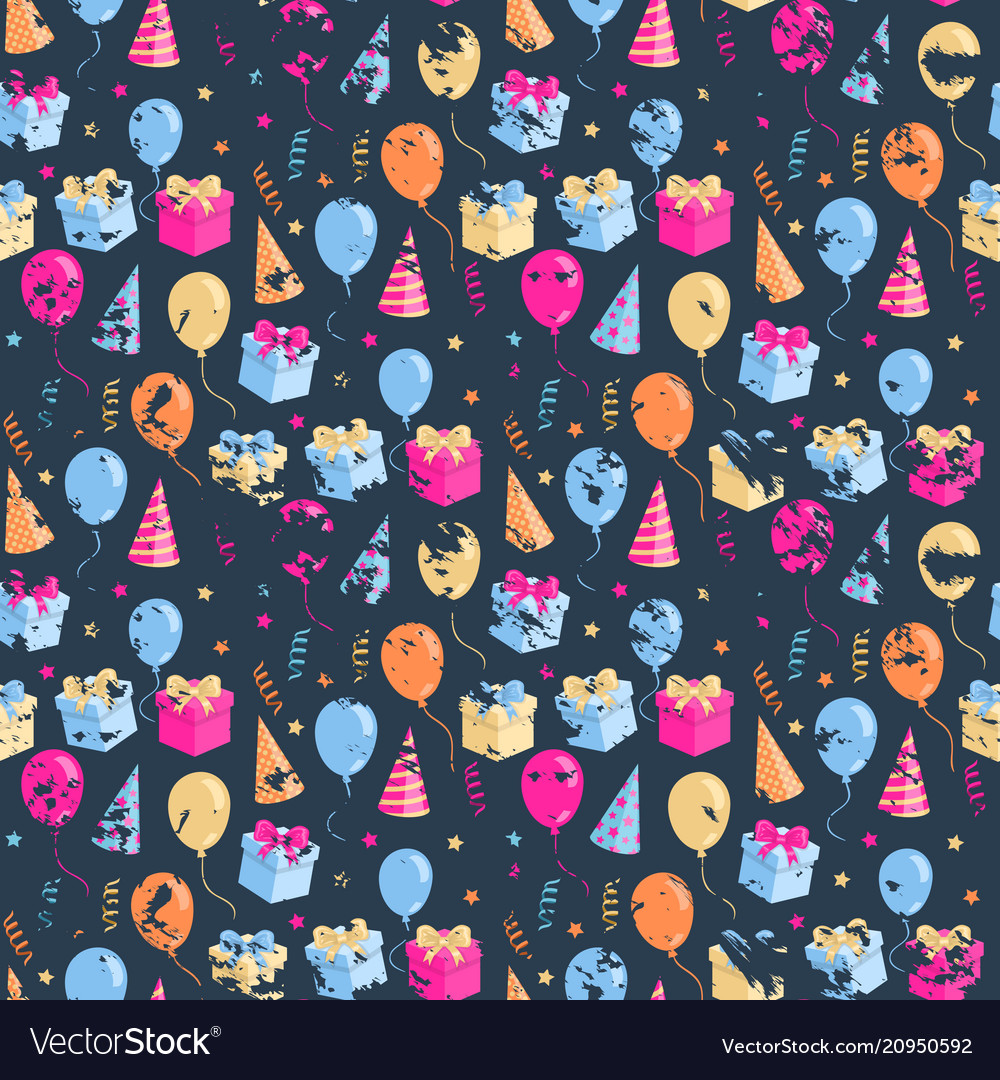 Party seamless pattern with ballonsgift boxhat