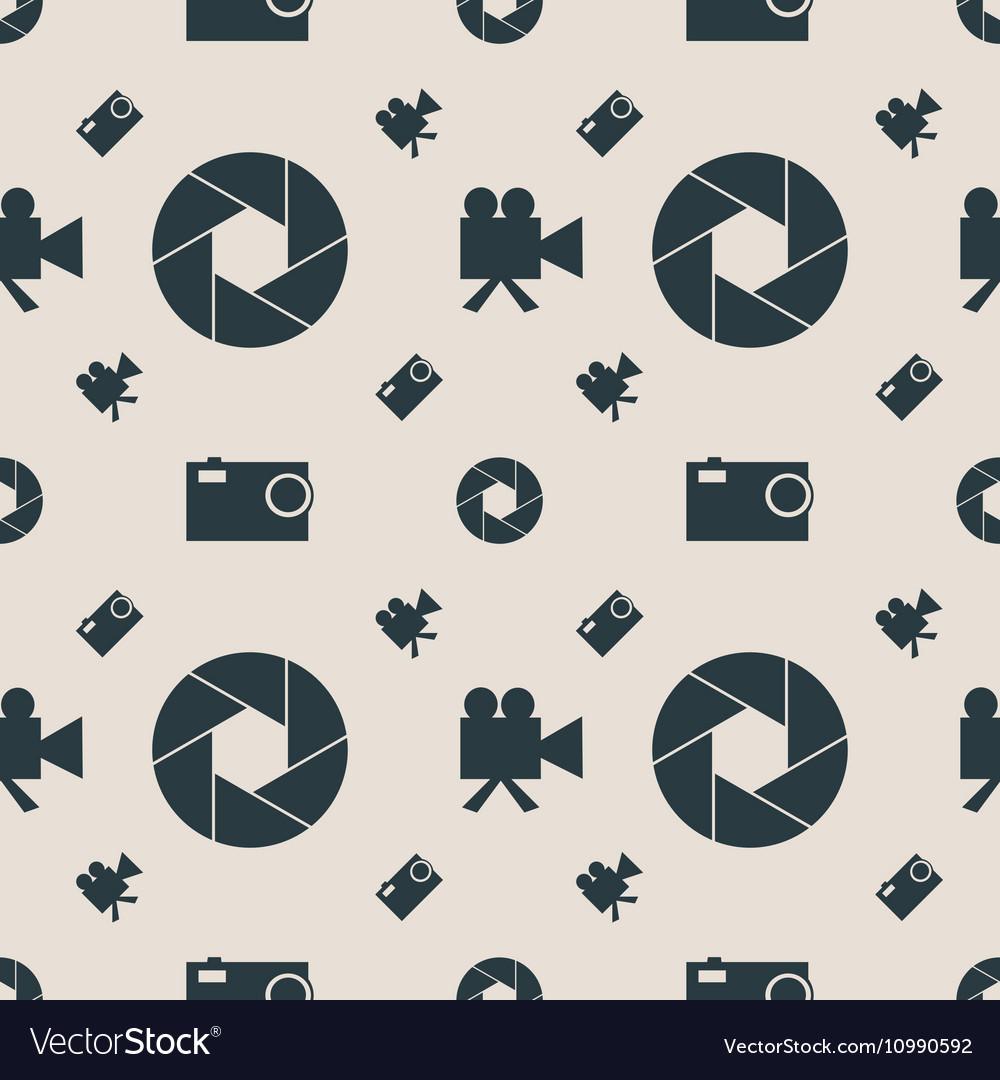 Photo and video camera flat icons seamless pattern