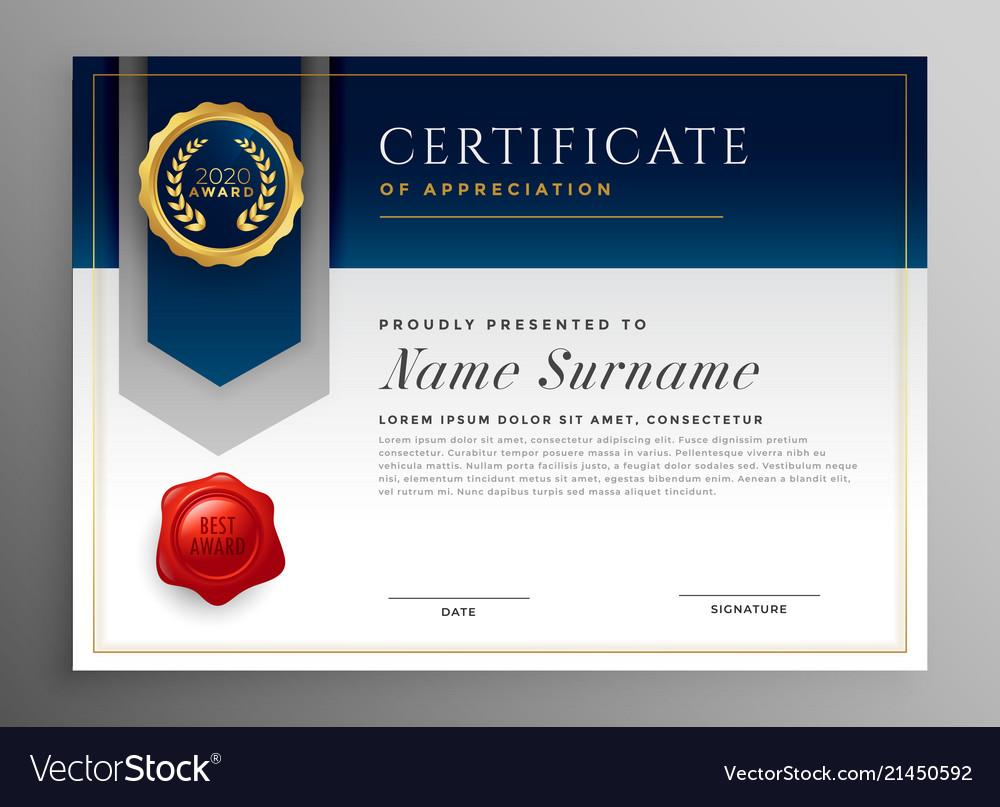 Professional blue certificate template design Vector Image Inside Professional Award Certificate Template