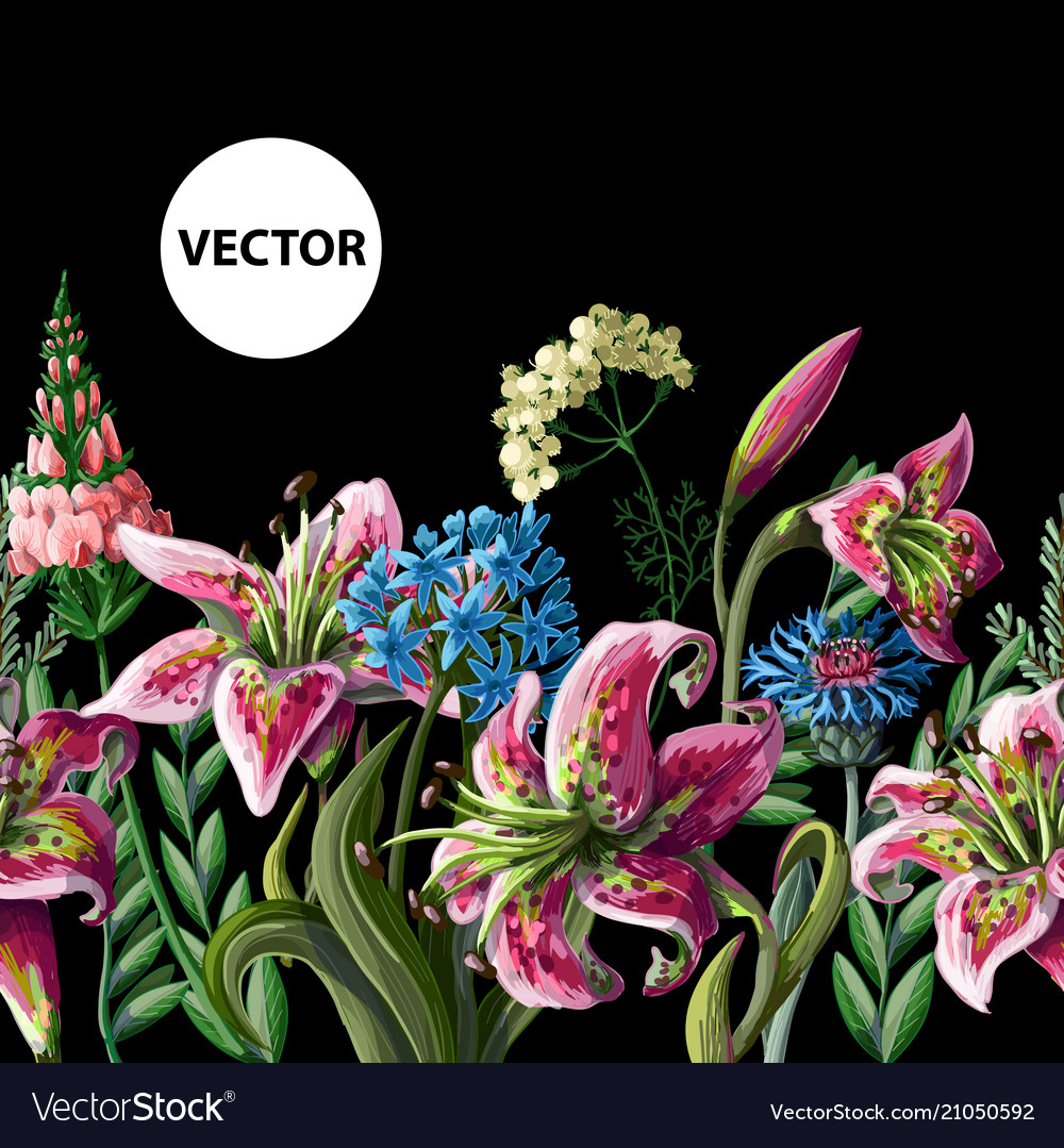 Seamless border with lilies and wild flowers