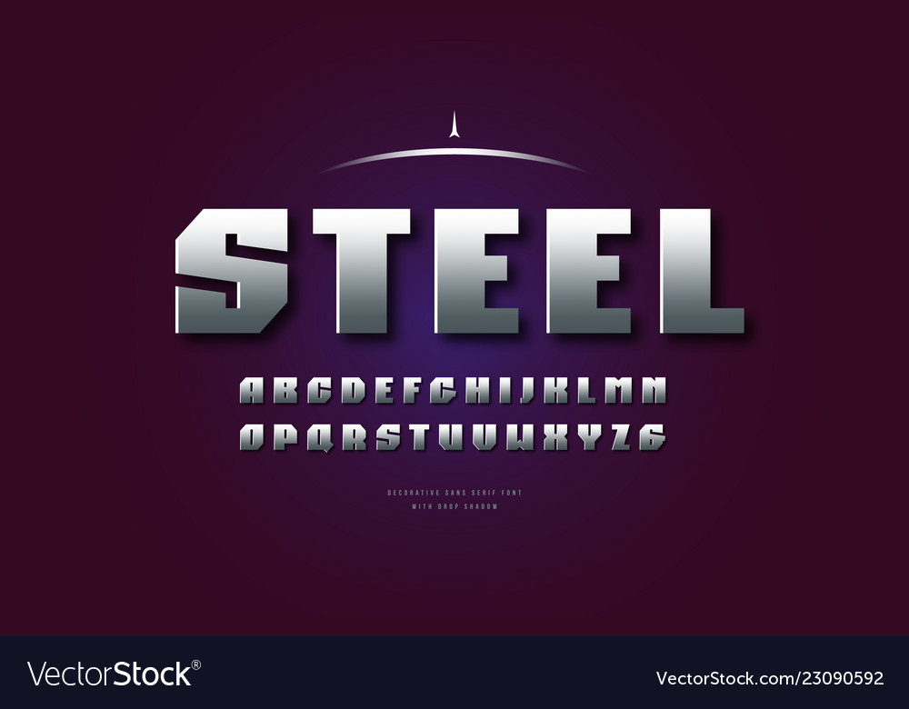 Silver colored and metal chrome sanserif font