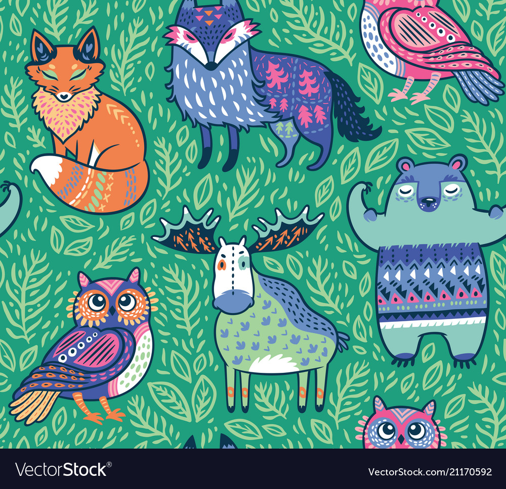 Tribal forest animals in green