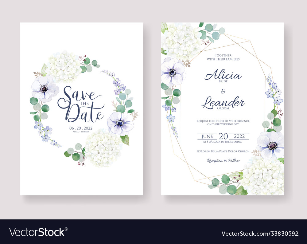 Wedding invitation save date card template