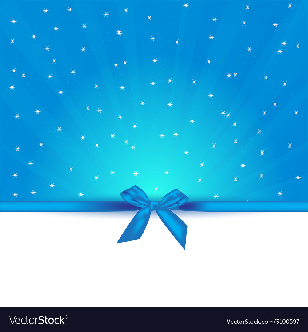 Abstract blue background with bow gift and copy