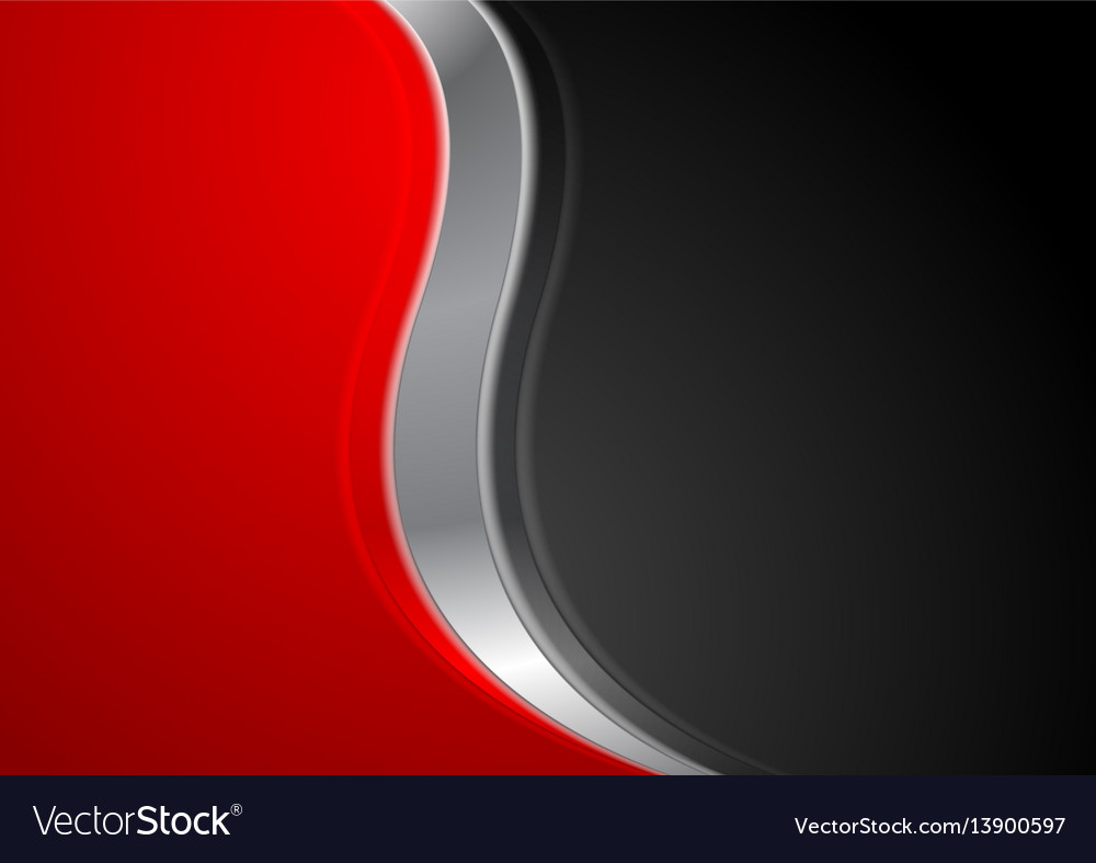 Abstract red black background with metallic wave