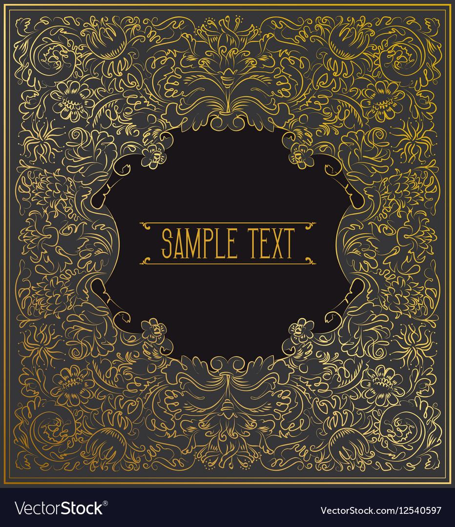 Black background Gold decorative ornament vector image