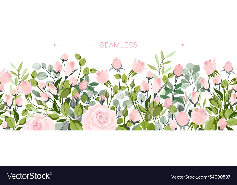 Delicate border blush pink flowers forest