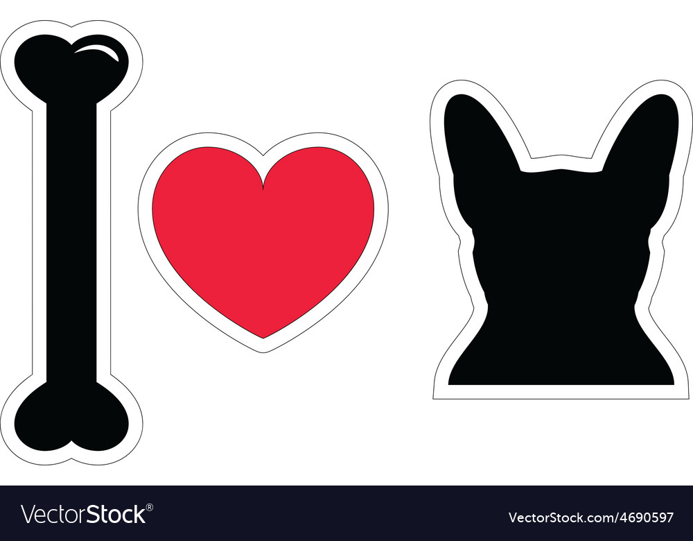 I love french bulldog with black shape dog vector image