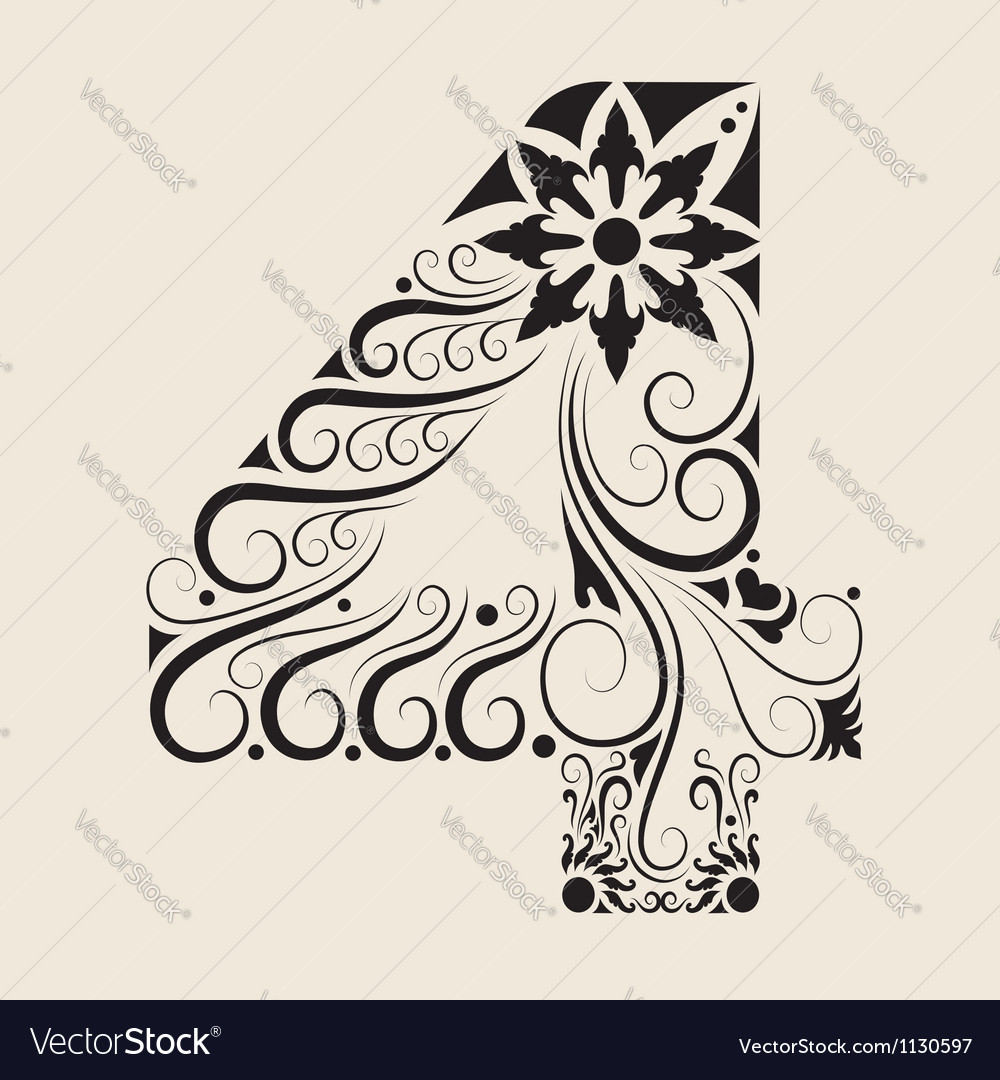 Number 4 floral decorative ornament vector image