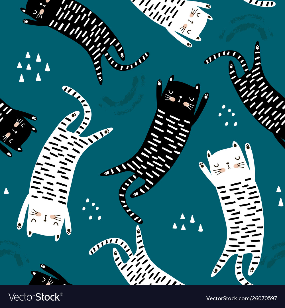 Seamless pattern with different funny cats