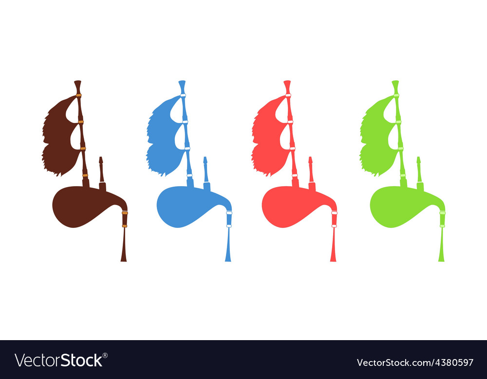 Set of Gaita - Spanish Bagpipes vector image