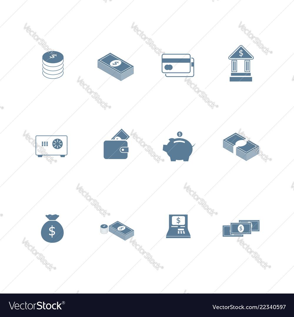 Set of money icon flat design