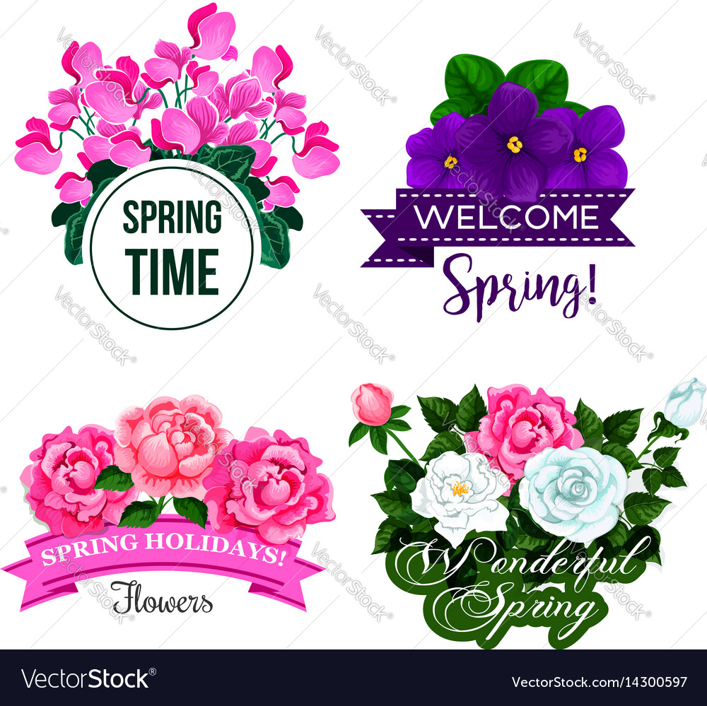 Spring time greeting quotes flowers design vector image mightylinksfo
