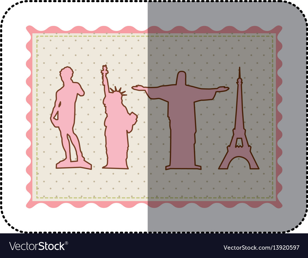 Sticker frame with silhouette of set of the world vector image