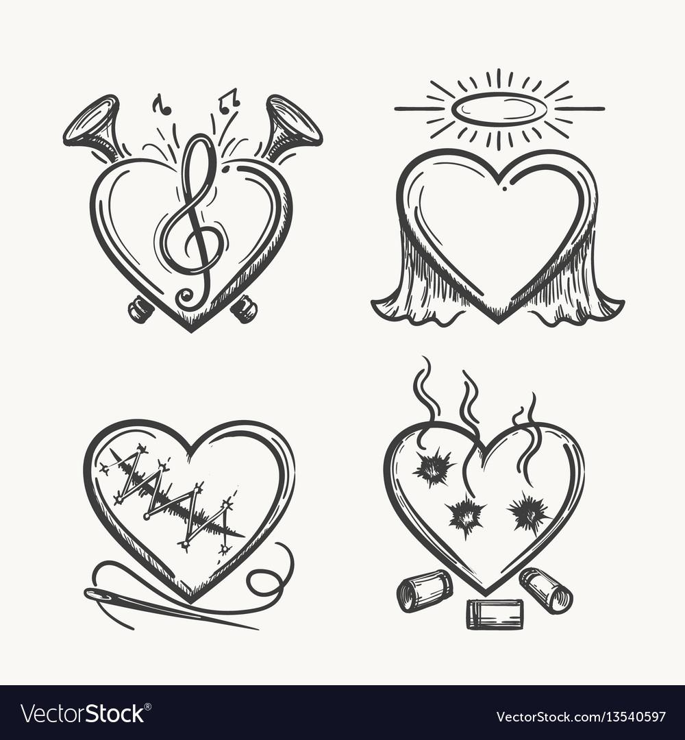 Tattoo hearts hand drawn heart icons