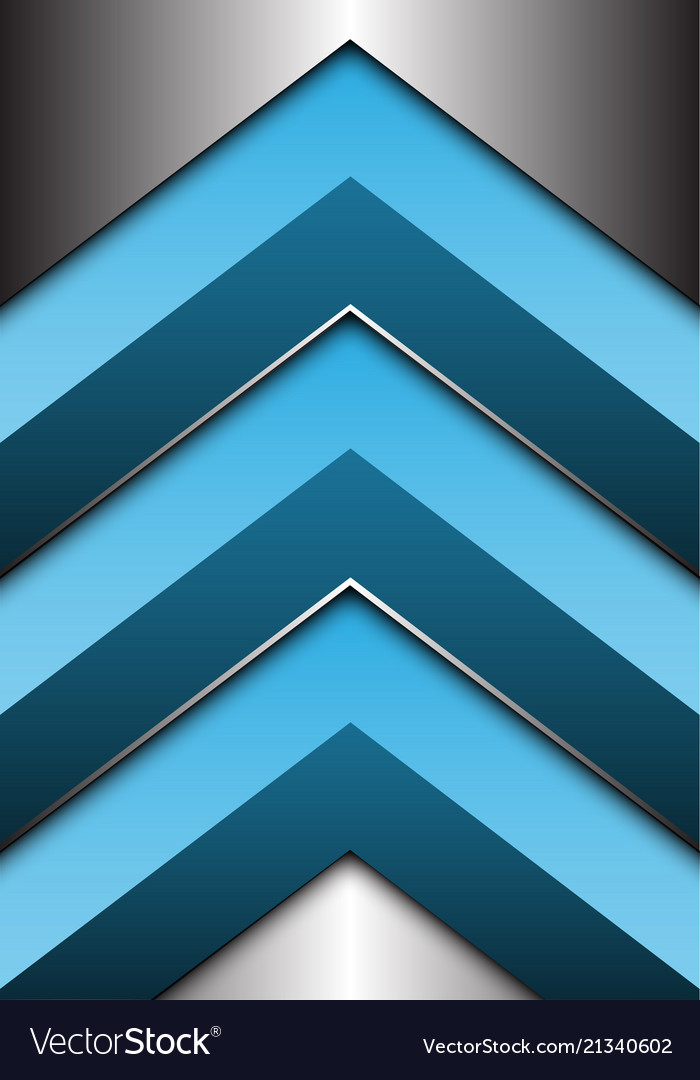 Abstract blue arrow 3d on silver direction