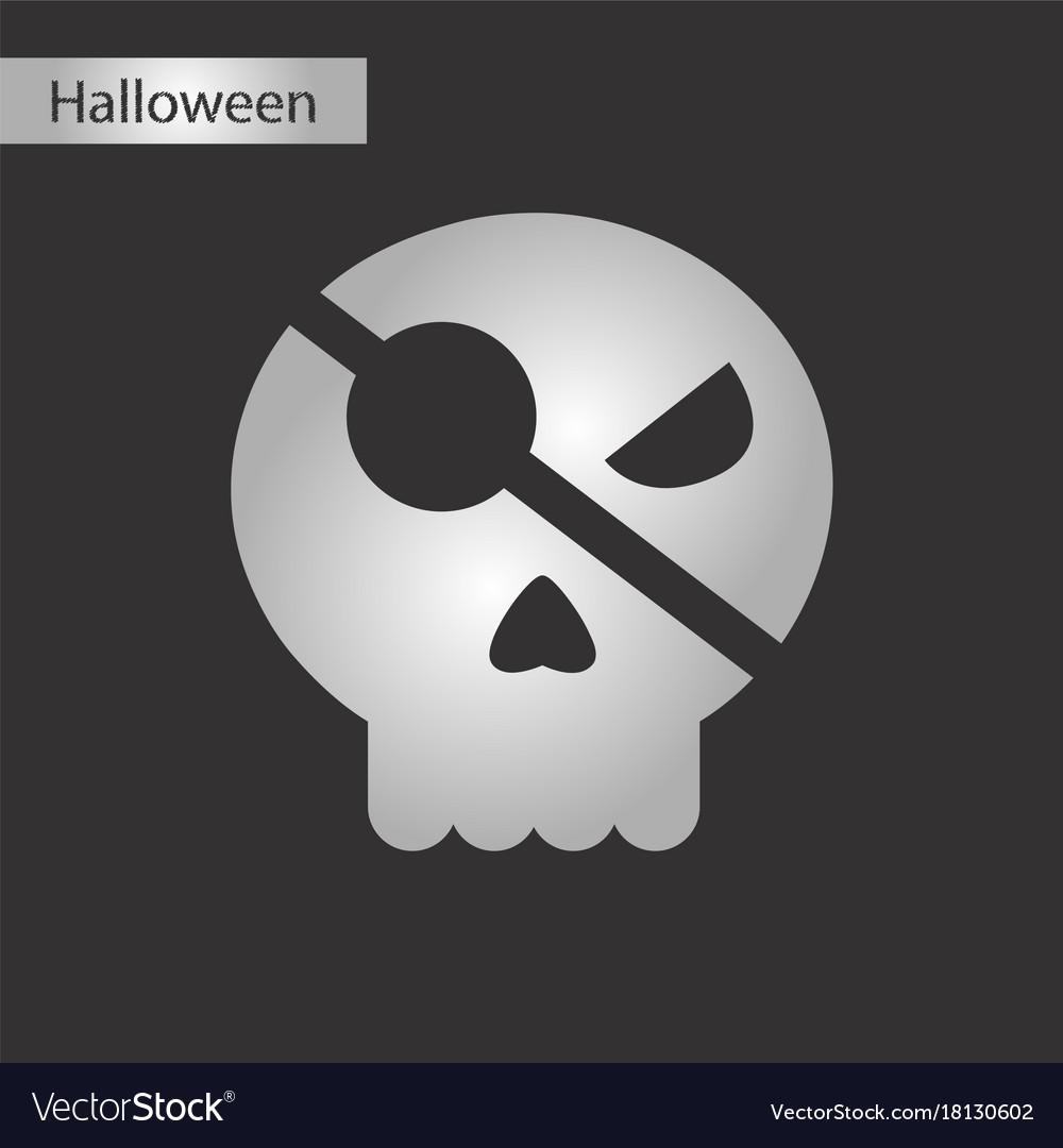skull with bones icon black