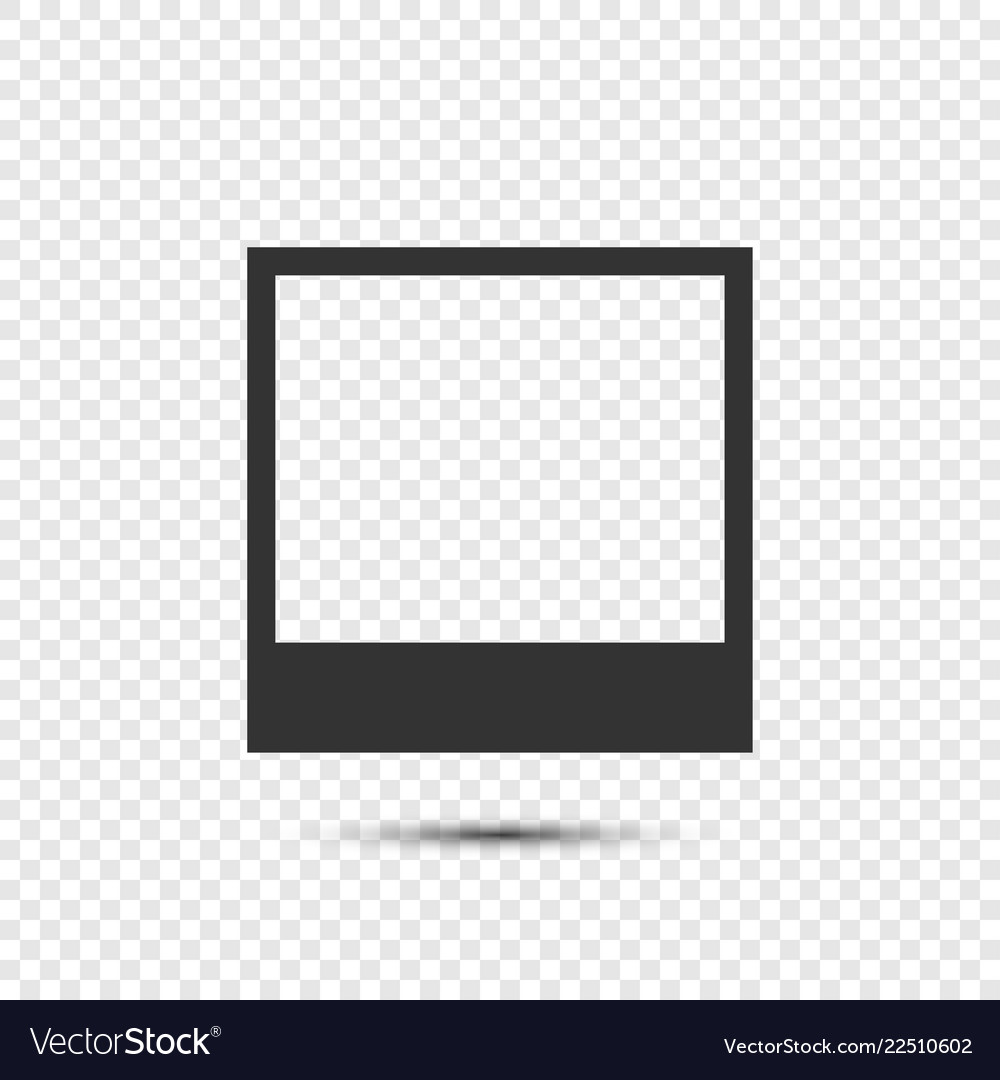 Black photo frame icon with shadow on transparent