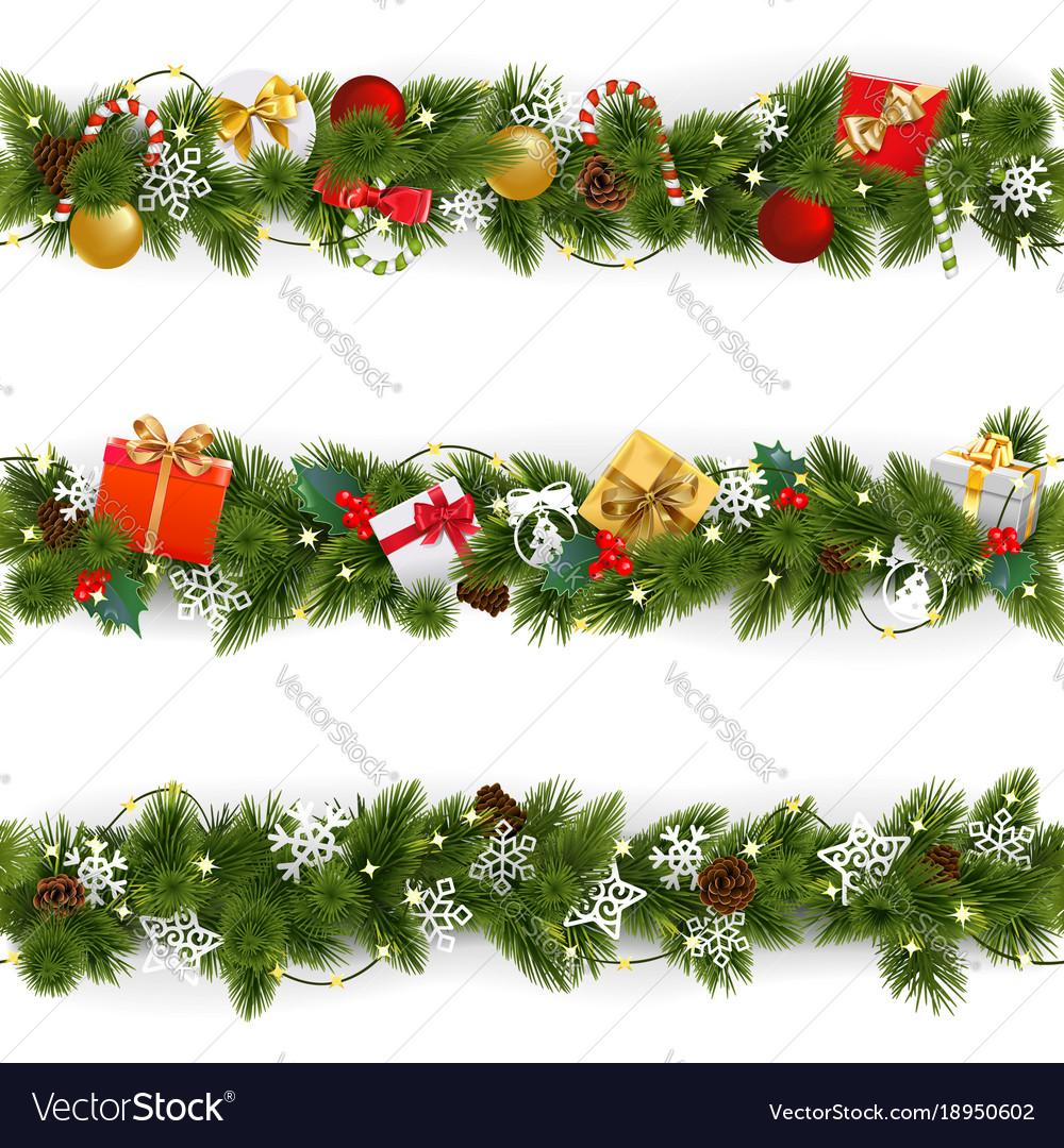 Christmas Boarder.Christmas Border Set With Garland