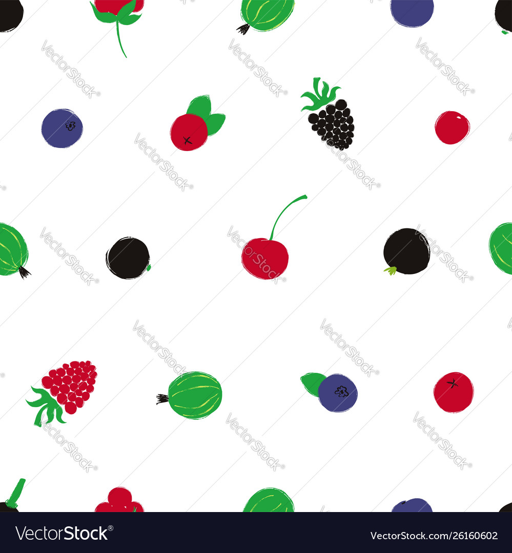 Colorful seamless pattern with berries