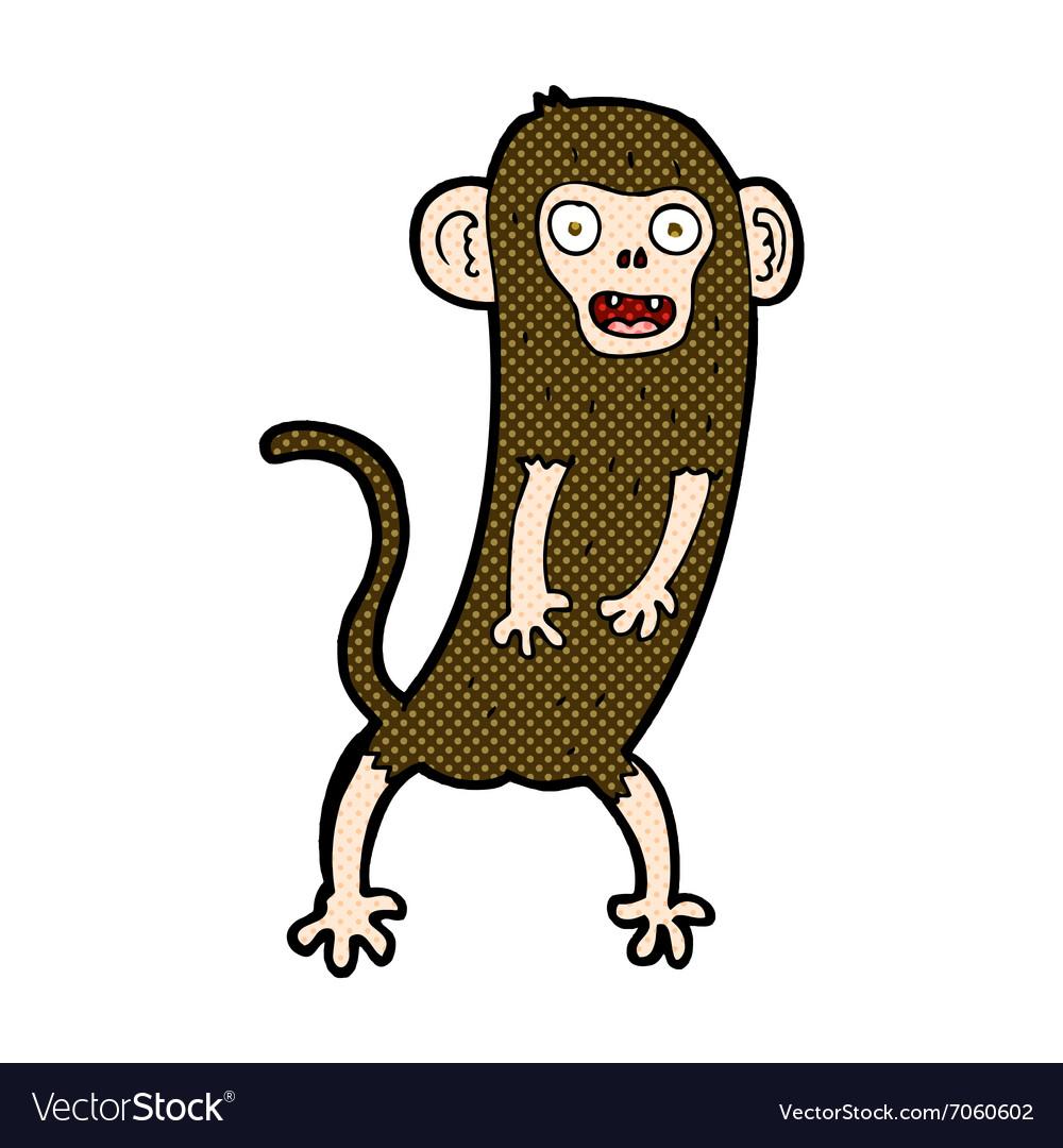 Comic cartoon crazy monkey vector image