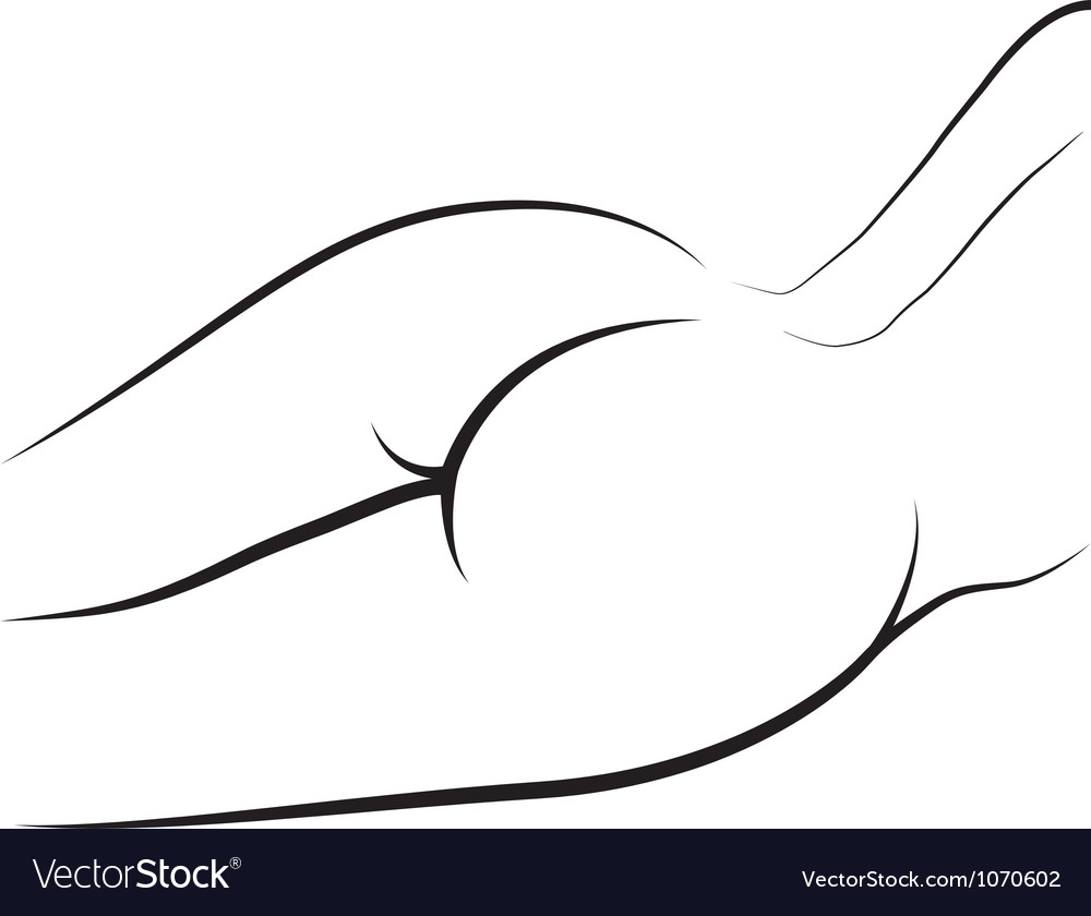 Female naked bum outline