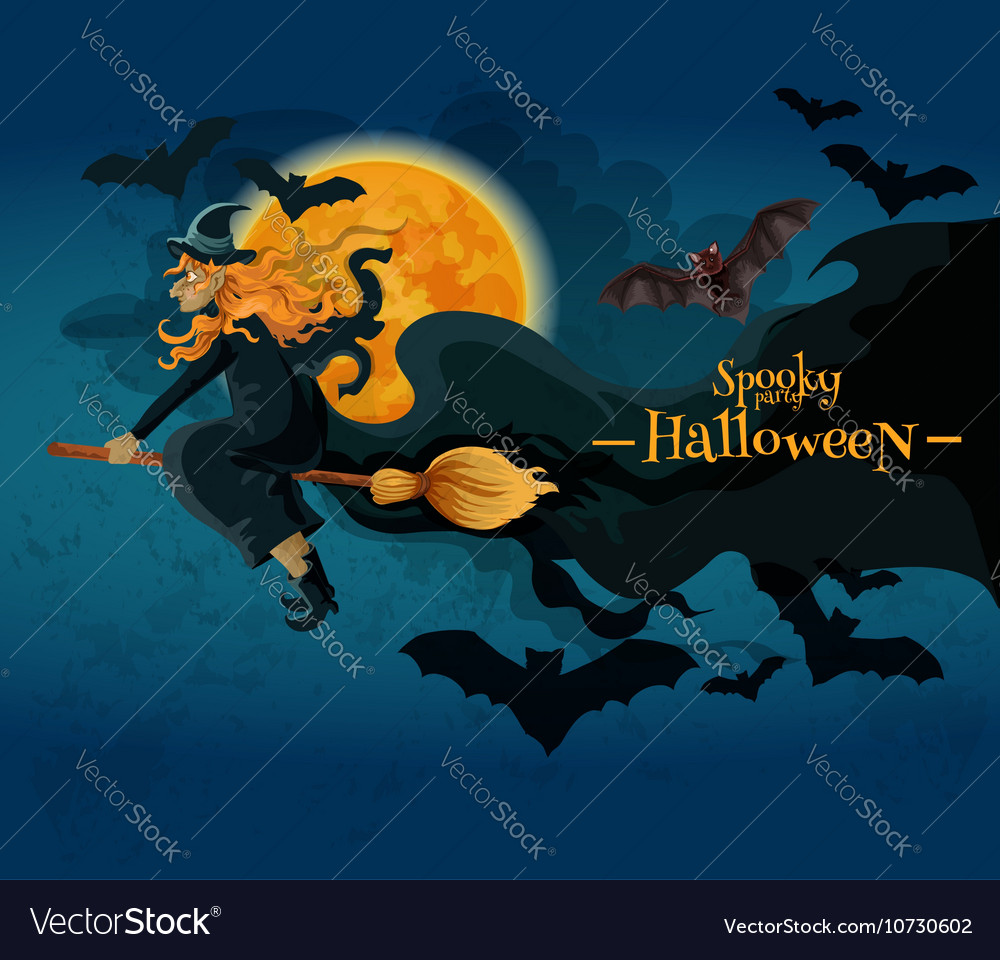 Halloween greeting card with witch and full moon