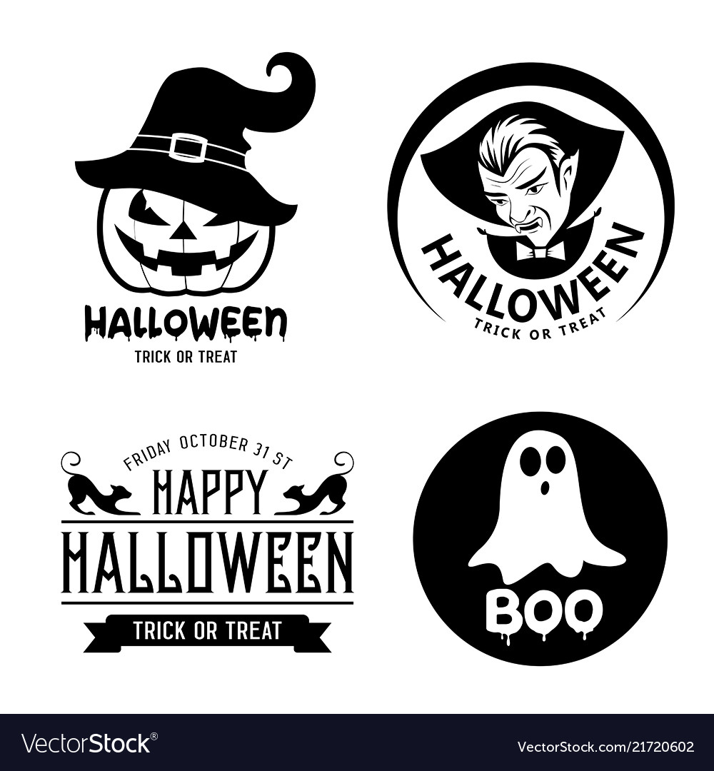Halloween Vector Black And White.Happy Halloween Black And White Design