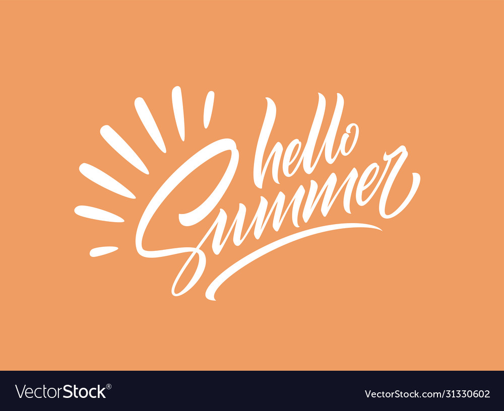 Hello summer handwriting lettering isolated